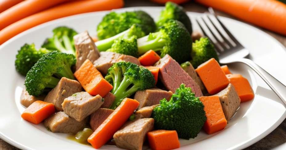 Dada ayam marinated dengan soya dan dihiasi dengan asparagus panggang